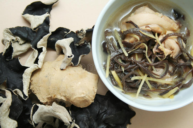 Ginger wine chicken with wood ear fungus stock image
