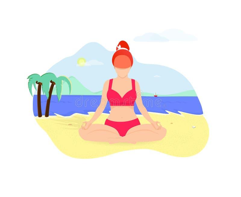 Ginger Woman Doing Yoga Asana na praia do beira-mar ilustração stock