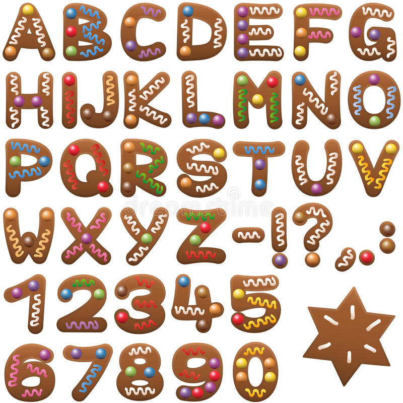 Gingerbread Alphabet Letters Font. Gingerbread alphabet - sweet christmas cookie font royalty free illustration