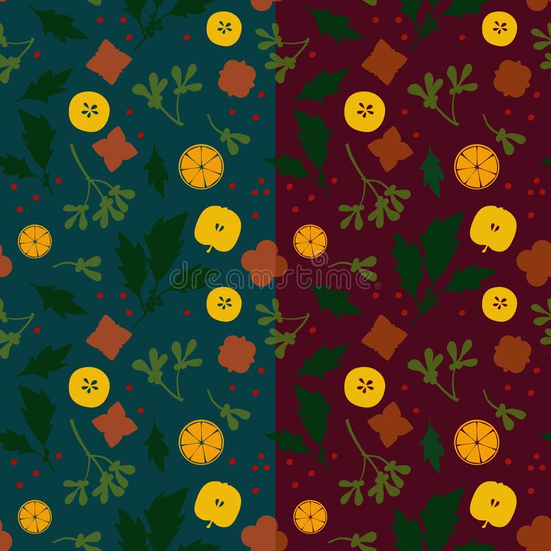 Gingerbread, apple, holly tree and mistletoe. Christmas theme background vector illustration