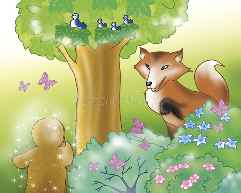 Gingerbread boy and fox in the wood. Sweet gingerbread boy talking with the fox in the wood. Digital illustration of the gingerbread boy fairy tale stock illustration