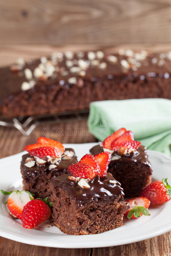 Free Gingerbread Cake With Chocolate And Hazelnuts Stock Images - 33546194