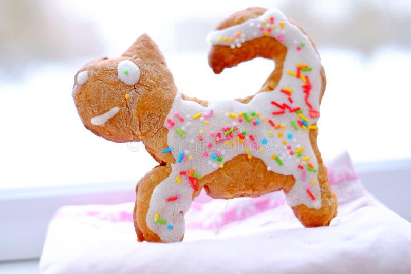 Gingerbread cat, cookie stock photos