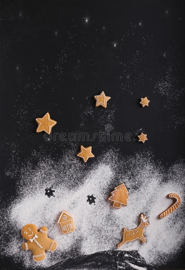 Gingerbread. Christmas cookies on a black background royalty free stock images