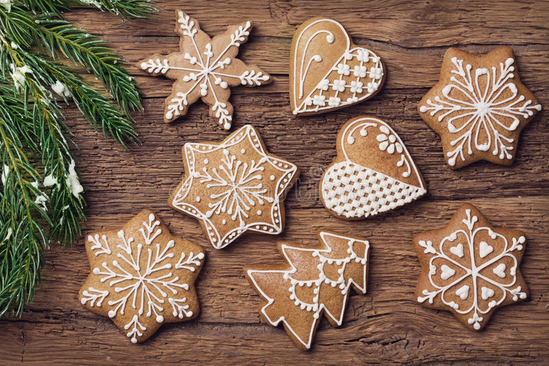 Gingerbread christmas cookies royalty free stock images