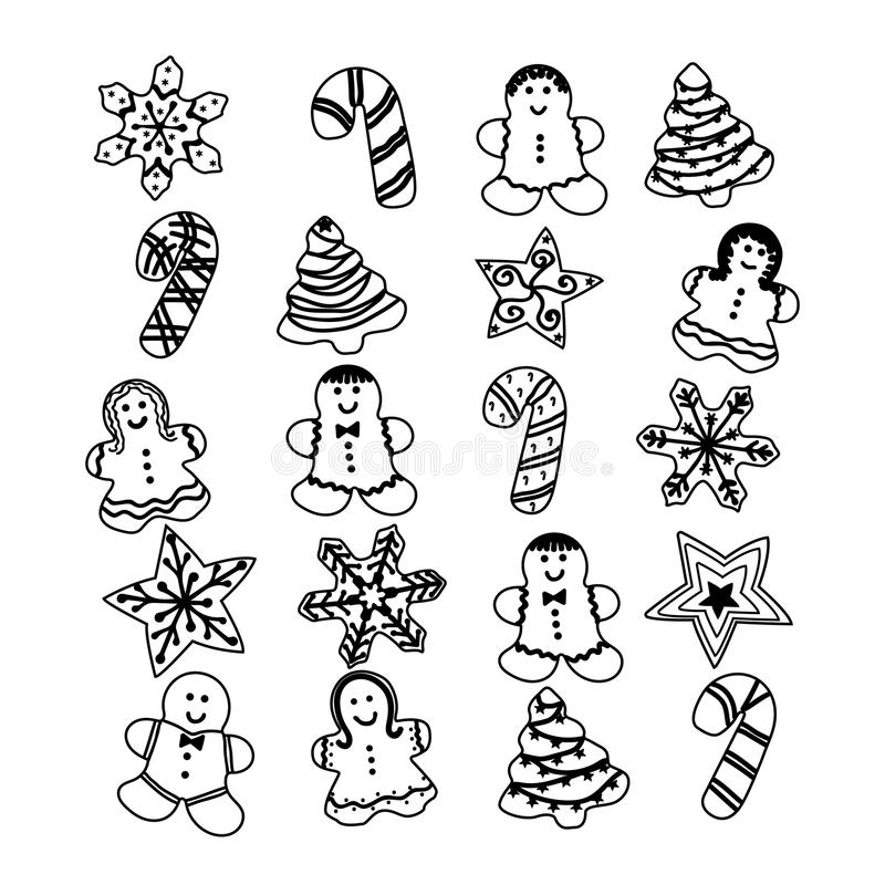 Gingerbread Christmas set Cookies, vector illustration royalty free illustration