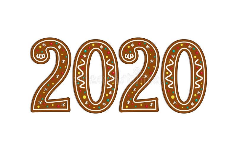 Gingerbread christmas symbol. New year icon. 2020. Vector illustration. royalty free illustration