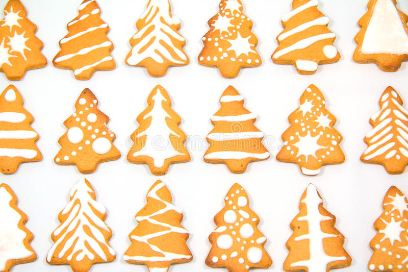 Gingerbread Christmas tree. Background from a variety of Christmas trees gingerbread royalty free stock images