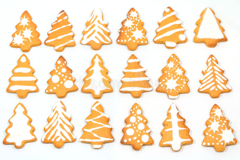 Gingerbread Christmas tree. Background from a variety of Christmas trees gingerbread stock photography