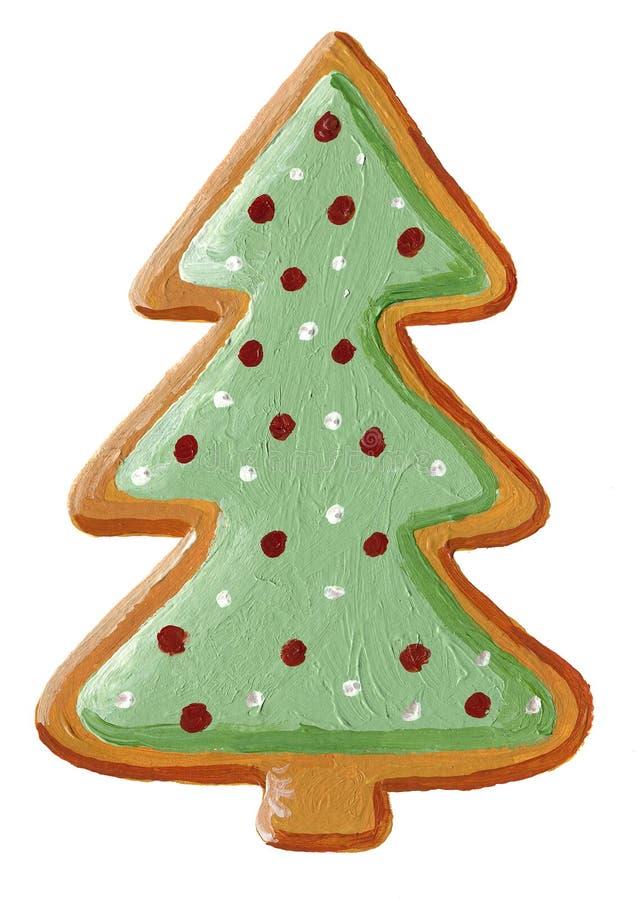 Gingerbread christmas tree cookie. Acrylic illustration of Gingerbread christmas tree cookie vector illustration