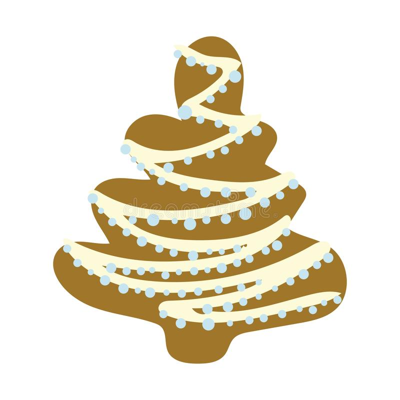 Gingerbread christmas tree. Cute gingerbread christmas tree illustration. White background. Hand drawn clipart. Flat style illustration. Greeting card, poster stock illustration