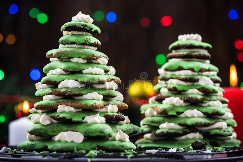 Gingerbread Christmas tree, festive food decoration royalty free stock photos