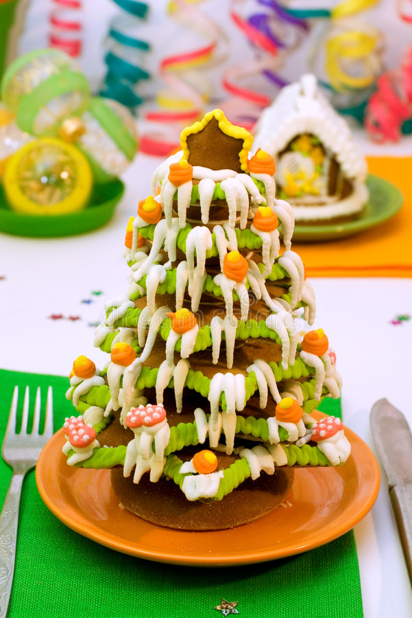 Download Gingerbread Christmas Tree And House Stock Photo - Image: 1608008