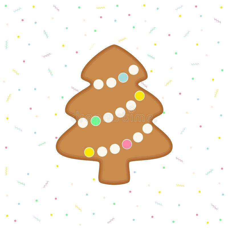 Gingerbread Christmas tree. Vector flat illustration of gingerbread Christmas tree on celebration background stock illustration