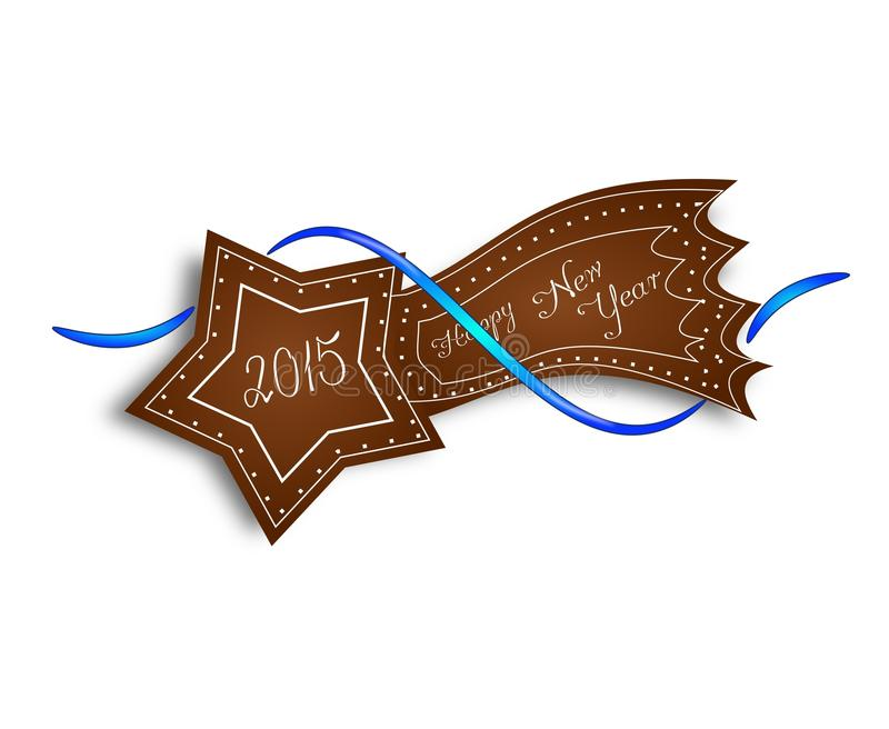 Gingerbread comet Happy New Year 2015 stock illustration