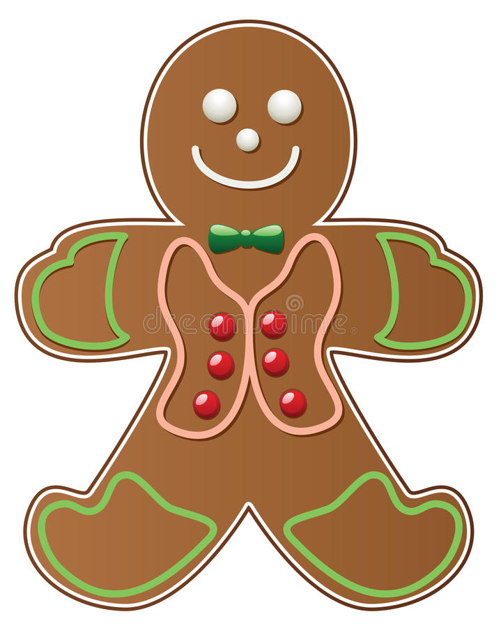 Gingerbread cookie. On white background, vector vector illustration