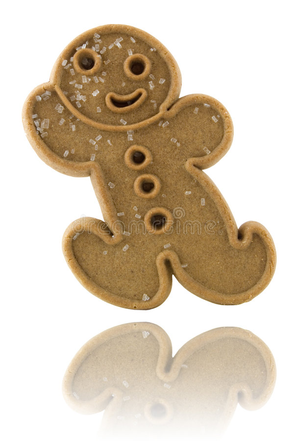 Gingerbread Cookie. With reflection isolated on white stock photos