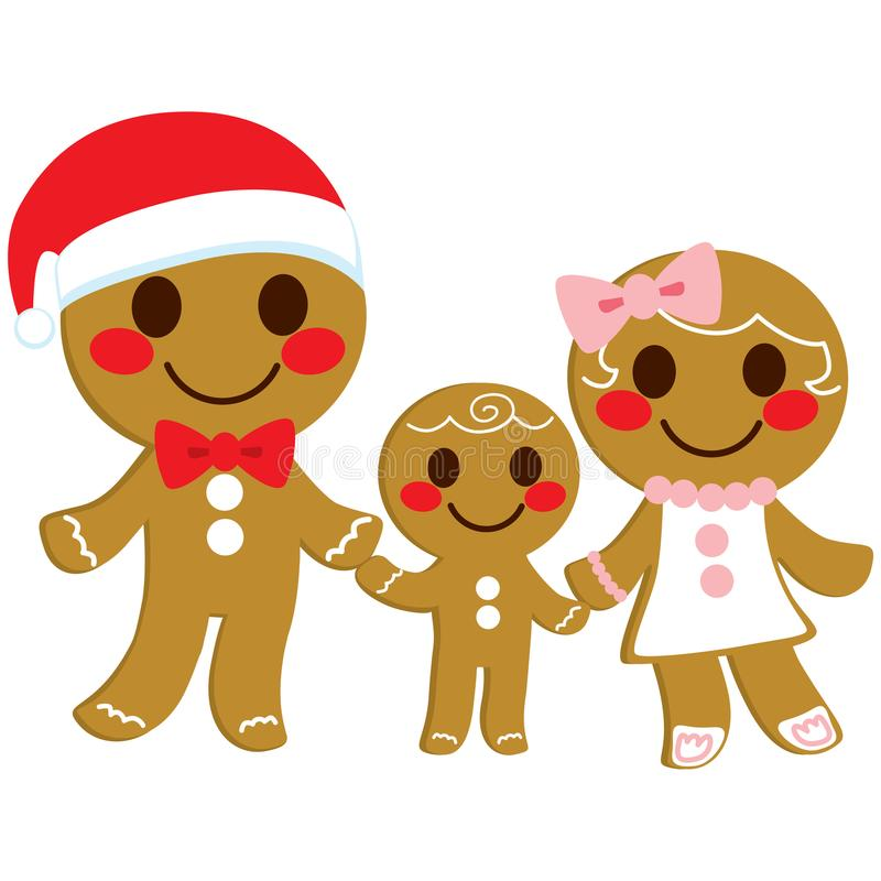 Gingerbread Cookie Family stock illustration