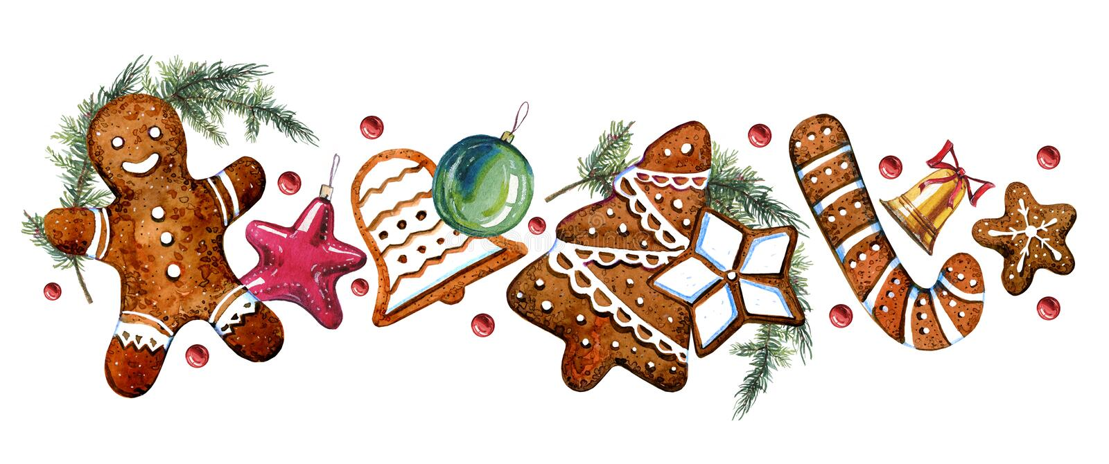 Gingerbread cookie figures with christmass tree decorations and fir branches. Hand drawn watercolor illustration. On white background royalty free illustration