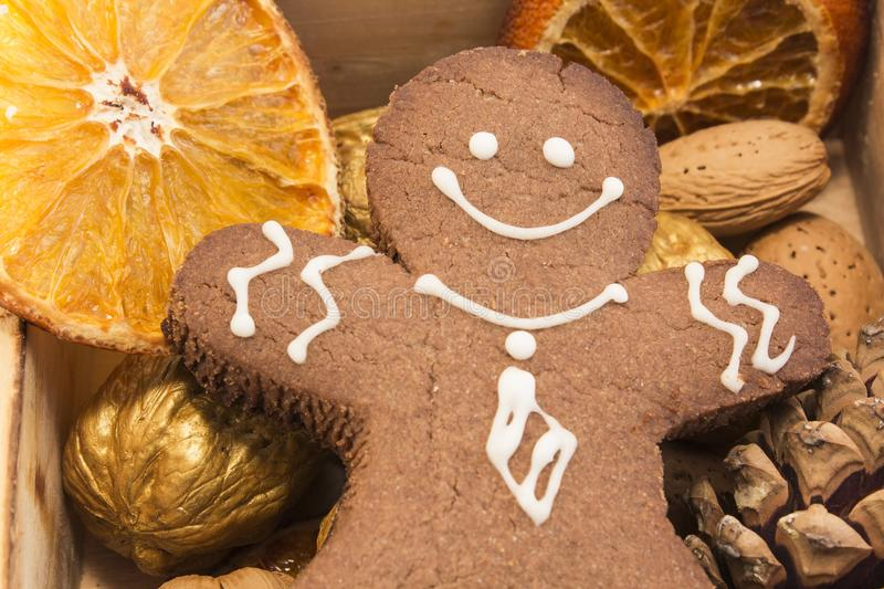 Gingerbread Cookie Man. With Christmas Decoration royalty free stock photography