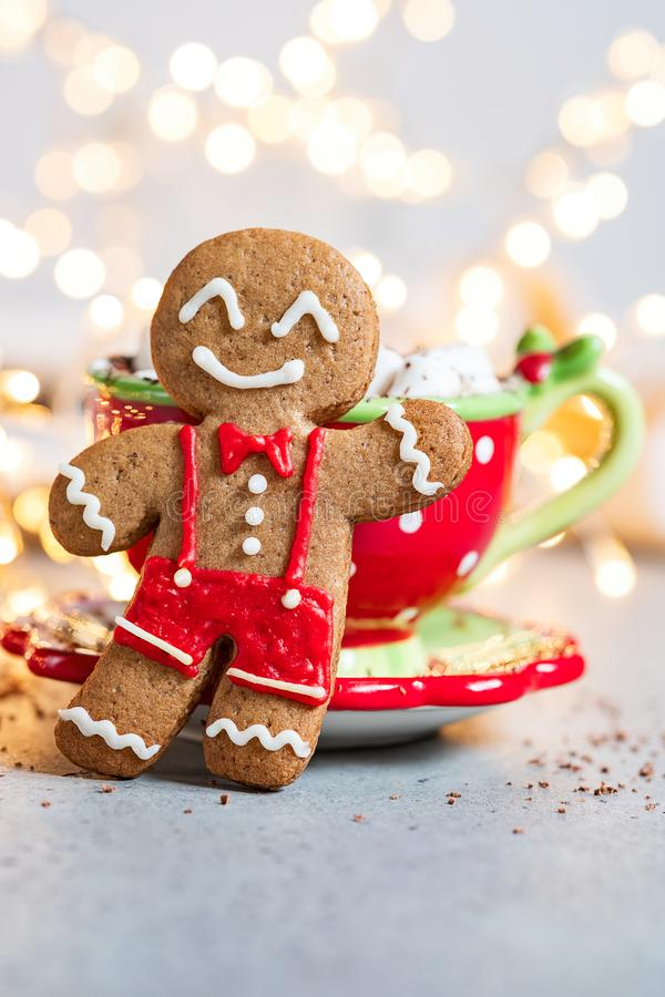 Happy gingerbread cookie man. Gingerbread cookie man and hot chocolate with marshmallow royalty free stock photos