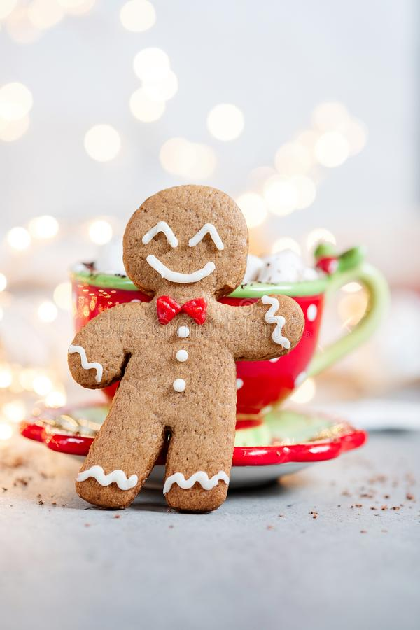 Happy gingerbread cookie man. Gingerbread cookie man and hot chocolate with marshmallow stock images