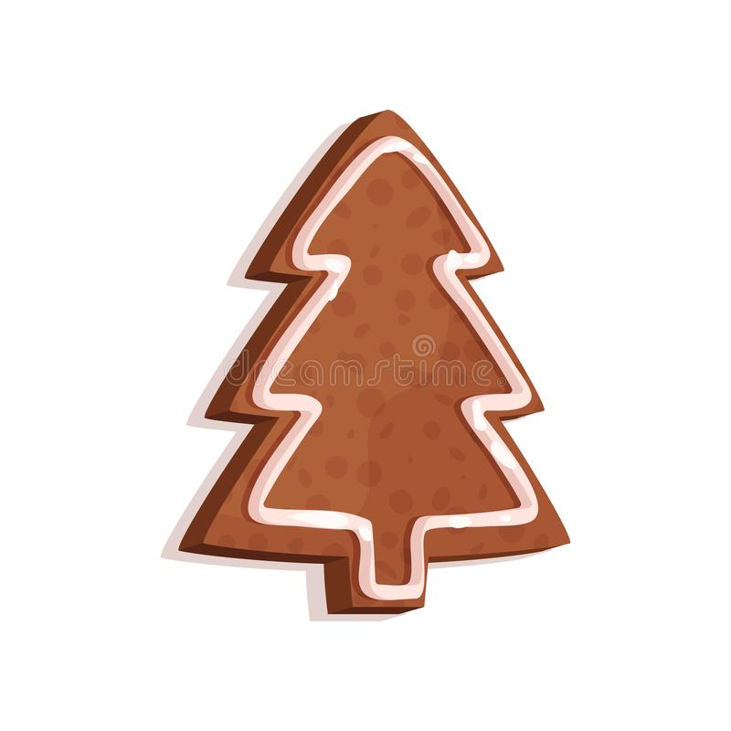 Gingerbread cookie in the shape of a fir tree, Christmas symbol, New Year decoration vector Illustration on a white. Gingerbread cookie in the shape of a fir vector illustration