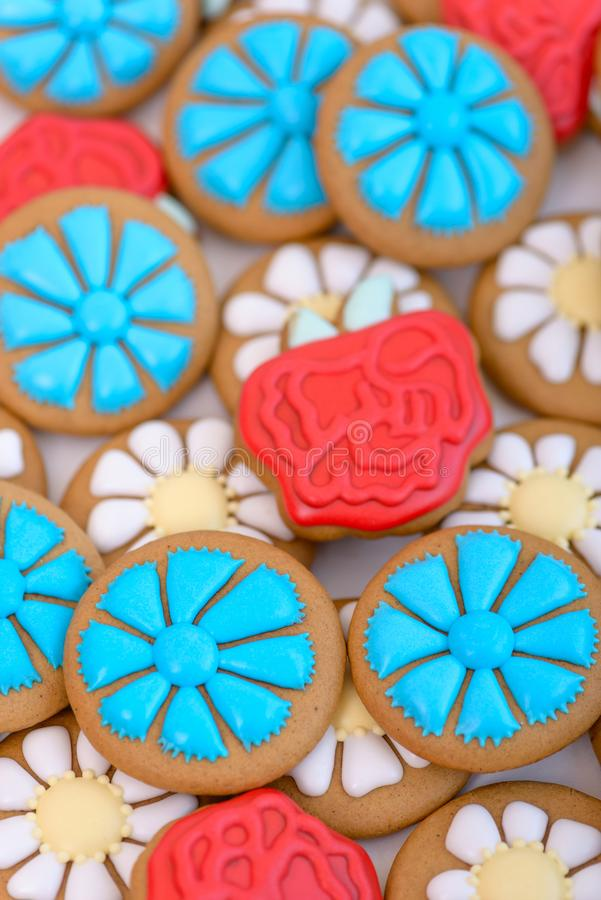 Gingerbread cookie in the shape of flowers royalty free stock photo