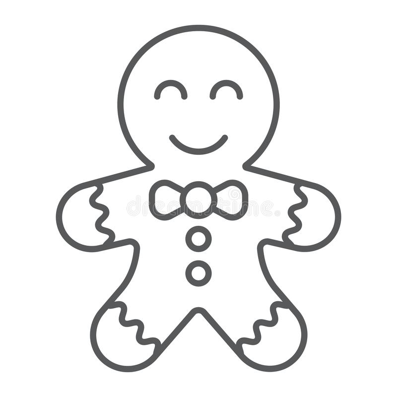 Gingerbread cookie thin line icon, christmas and sweets, xmas dessert sign, vector graphics, a linear pattern on a white. Background, eps 10 vector illustration