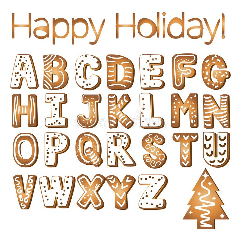 Gingerbread cookies alphabet holidays ginger cookie isolated font text food biscuit xmas letter vector illustration vector illustration