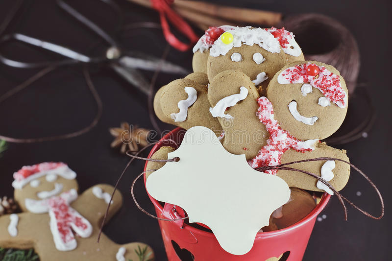 Gingerbread Cookies and Blank Card royalty free stock images
