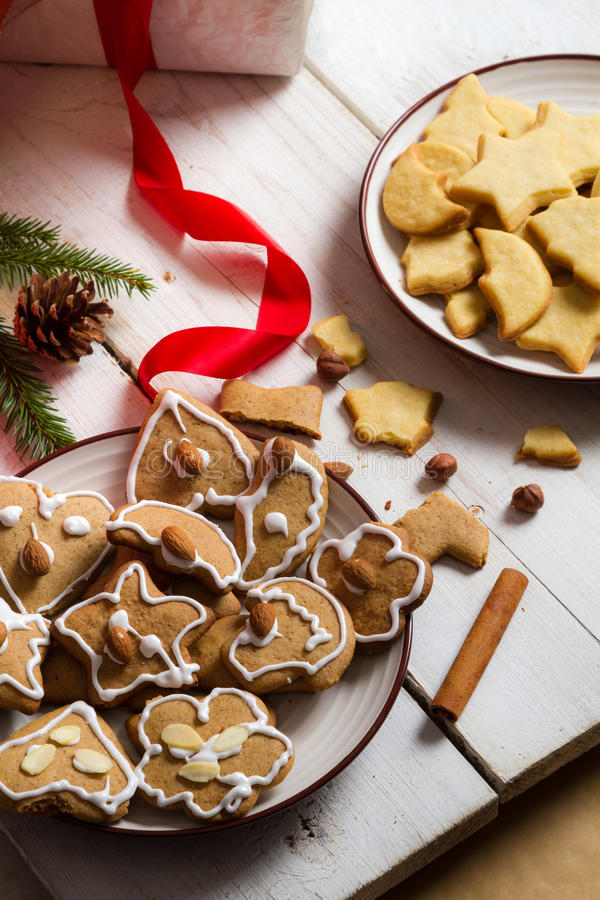 Gingerbread Cookies within Christmas decorations royalty free stock photo