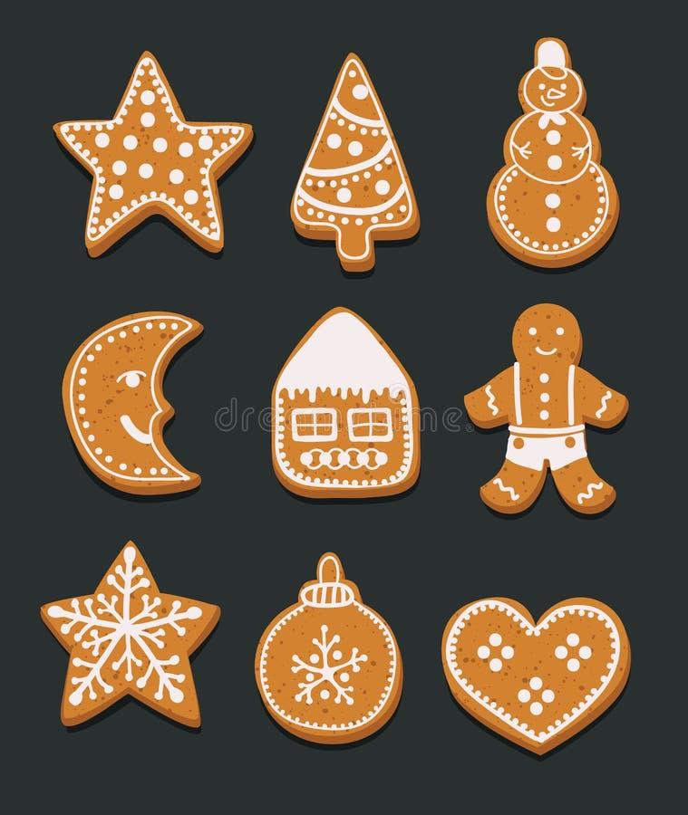 Gingerbread cookies Christmas set vector illustration stock illustration