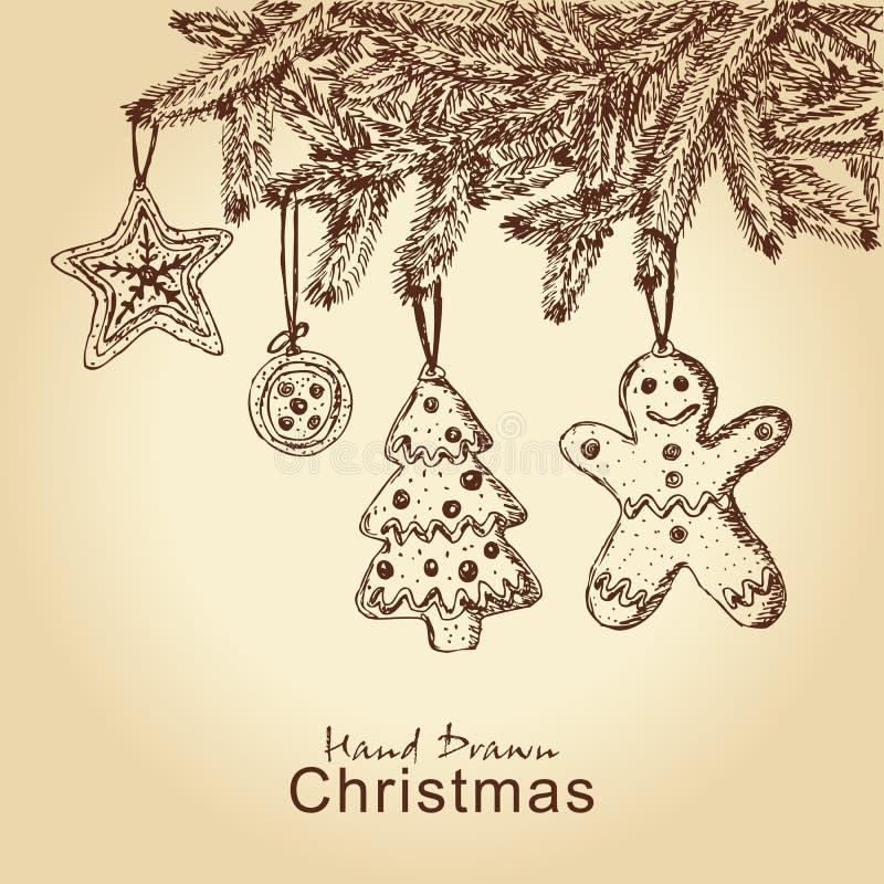 Gingerbread cookies on christmas tree. Hand drawn gingerbread cookies on christmas tree, for xmas design stock illustration