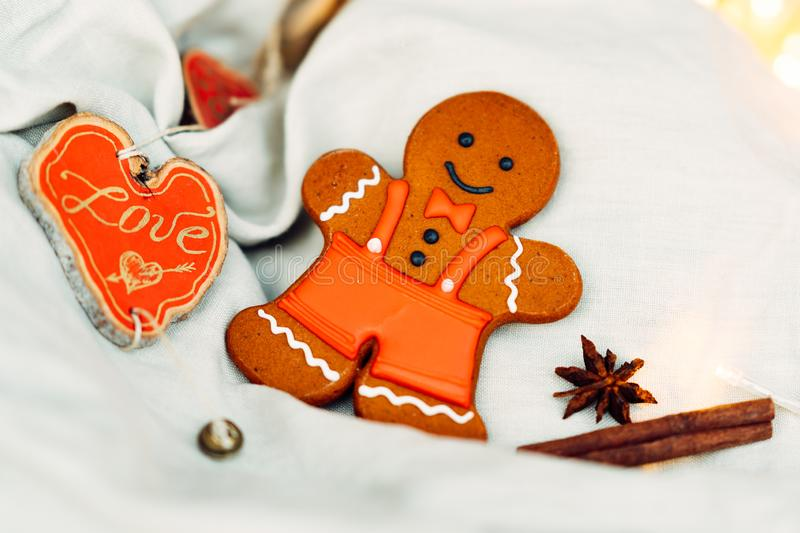 Gingerbread cookies for family. Christmas taste. Beautiful gingerbread cookies for the whole family. Wooden miracle. traditional Christmas dessert stock photo