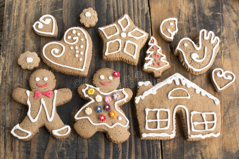 Gingerbread Cookies , Family. On Wooden Rustic Background stock photos