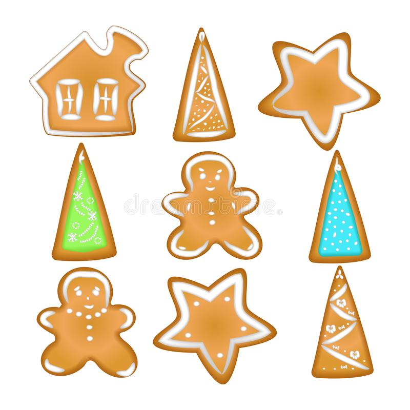 Collection of Christmas cookies. Homemade Gingerbread with spice vector illustration