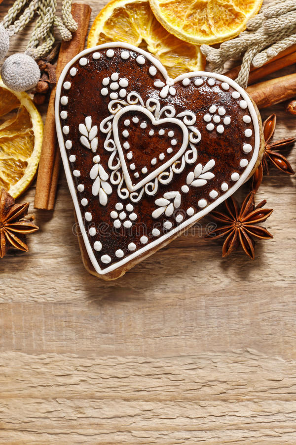 Gingerbread cookies in heart shape. Party decoration royalty free stock image