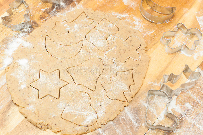 Gingerbread cookies. Making gingerbread cookies stock photography