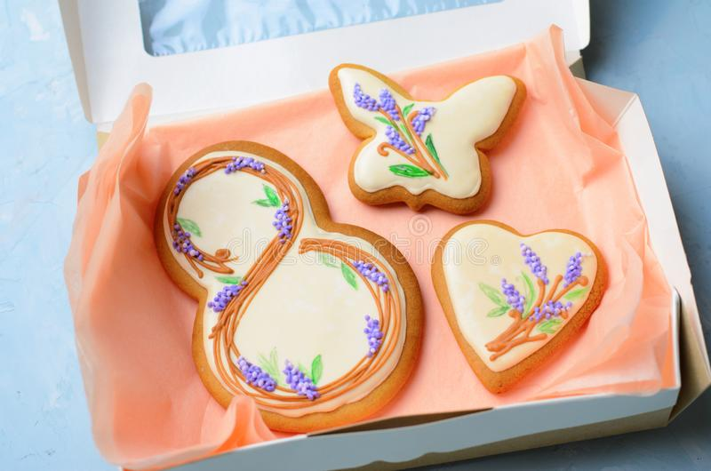 Gingerbread Cookies for March 8, Women`s Day, Handmade Cookies with Sugar Icing royalty free stock photos