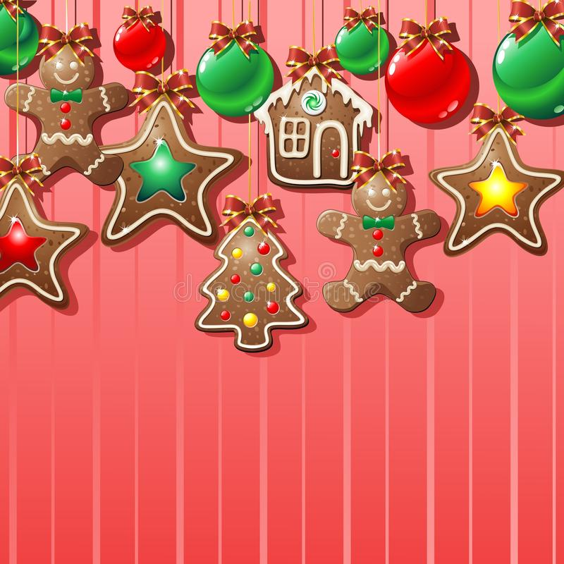 Gingerbread Cookies Ornamental Background. Gingerbread Cookies for Sweet Christmas Background royalty free illustration