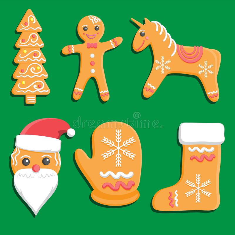 Gingerbread Cookies set isolated on white background. Decorative Xmas tree man unicorn mitten Shoe Santa Claus. Vector image. Eps 10 vector illustration