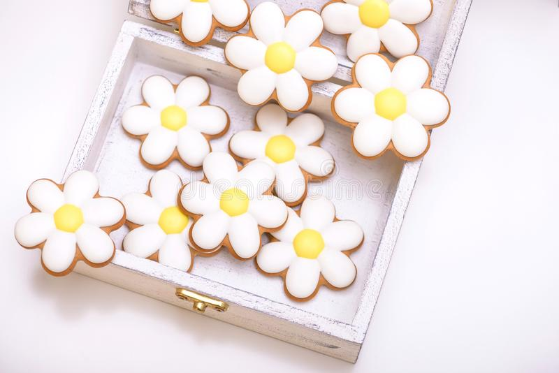 Gingerbread cookies in the shape of chamomile flowers royalty free stock photo
