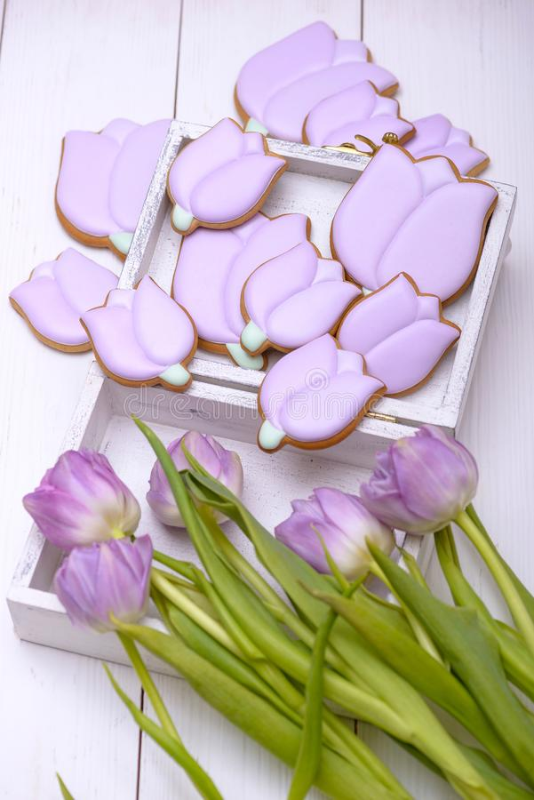 Gingerbread cookies in the shape of flower stock photo
