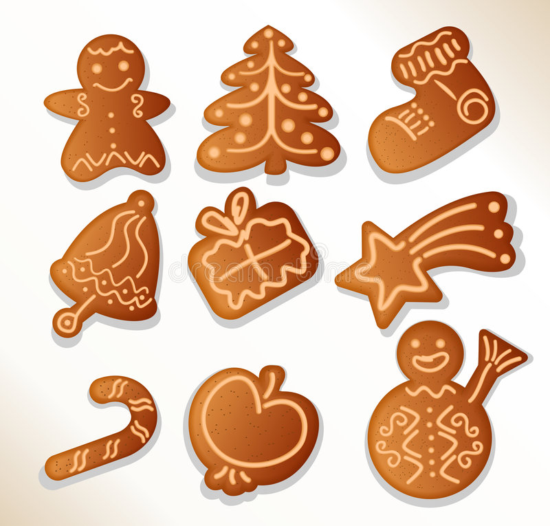 Download Gingerbread Cookies - Vector Stock Vector - Illustration of decorated, apple: 6805522