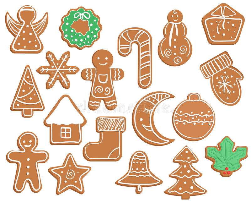 Gingerbread cookies on white background. Gingerbread Christmas and New year cookies on white background royalty free illustration