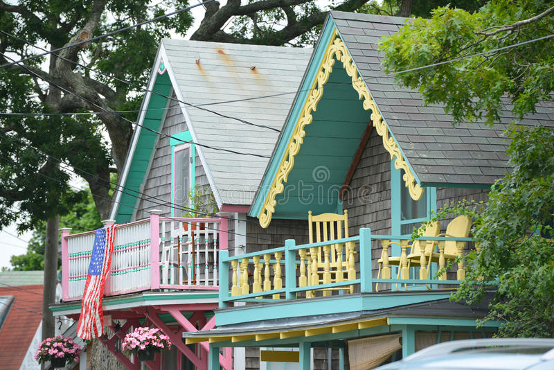 Gingerbread Cottages, Martha's Vineyard, MA, USA. Carpenter Gothic Cottages with Victorian style, gingerbread trim in Wesleyan Grove, town of Oak Bluffs on stock images