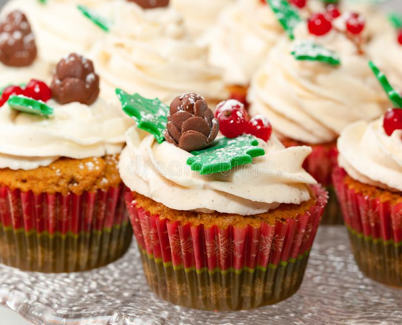 Gingerbread cupcake for christmas. Gingerbread cupcake or muffin with Christmas decoration royalty free stock photos