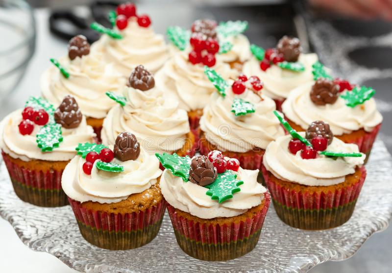 Gingerbread cupcake for christmas. Gingerbread cupcake or muffin with Christmas decoration stock photo
