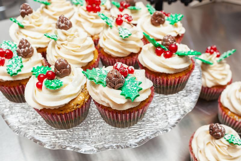 Gingerbread cupcake for christmas. Gingerbread cupcake or muffin with Christmas decoration stock images